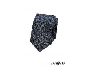 Velmi tmavě modrá slim kravata se šedým žíháním