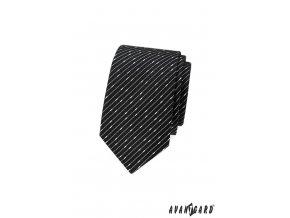 Černá slim kravata se zajímavými proužky