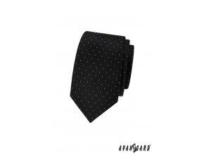 Černá slim kravata s jemnými bílými tečkami