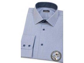 Modrobílá pánská slim fit košile, dl.rukáv, 109-0164