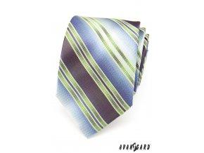 Světle zelená luxusní kravata se širokými modrými pruhy _