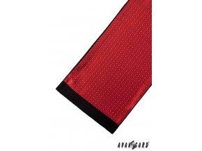 Sytě červená pánská šála s drobným vzorkem