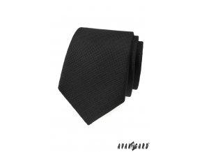 Černá matná vroubkovaná kravata