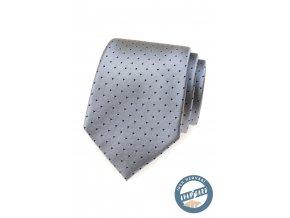 Světle šedá kravata s tmavými tečkami + krabička