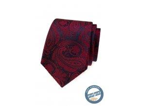 Bordó kravata s tmavým vzorem + krabička