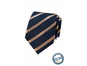 Tmavě modrá hedvábná kravata se světlými pruhy + krabička