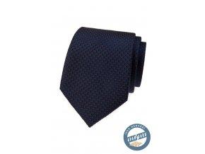 Tmavě modrá hedvábná kravata s červenými tečkami + krabička