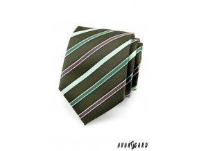 Tmavě zelená luxusní kravata s barevnými proužky _