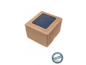 Modrá hedvábná kravata s tmavým vzorem + krabička