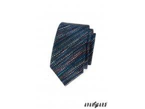 Tmavě modrá slim kravata s barevným vzorkem