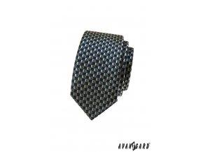 Tmavě modrá slim kravata se zlatým vzorem
