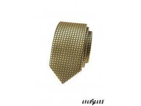 Okrová slim kravata se vzorem