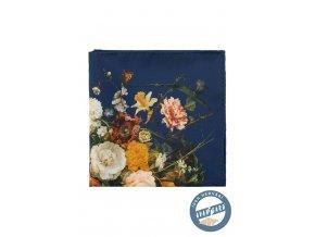 Modrý hedvábný kapesníček s květovaným vzorem