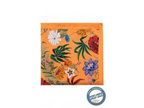 Oranžový kapesníček s barevnými květy