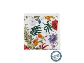 Bílý kapesníček s barevnými květy
