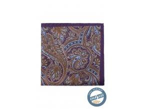 Fialový kapesníček s hnědým vzorem