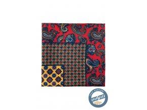 Červený kapesníček se žlutým a modrým vzorem