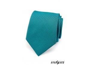 Luxusní kravata v tmavé barvě petrol s jemným vzorem