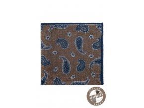 Hnědý vlněný kapesníček s modrým vzorem