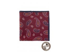 Bordó kapesníček s modrým vzorem
