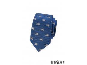Modrá slim kravata se vzorem - motorka