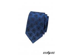 Zářivě modrá slim kravata se vzorem - kolo