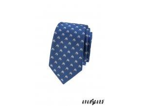Modrá slim kravata se vzorem - plachetnice