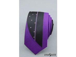 Zářivě fialová luxusní SLIM kravata s efektním černým obrazcem
