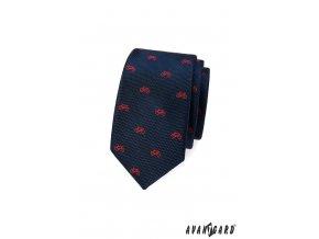 Tmavě modrá slim kravata s červeným vzorem - kolo