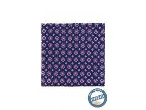 Modrý kapesníček s barevným vzorem