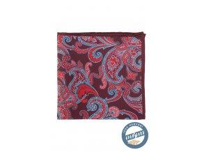 Bordó kapesníček s červeným vzorkem