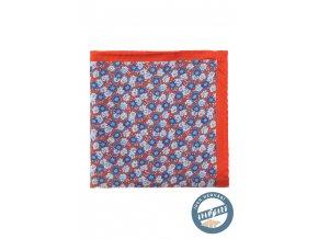 Oranžový kapesníček s modrými květy
