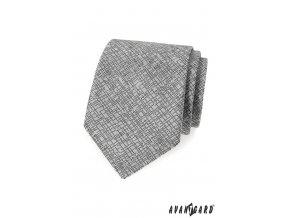 Šedá kravata s tečkovaným vzorem