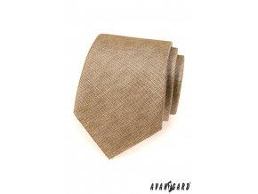 Béžová jemně žíhaná kravata + kapesníček do saka