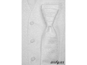 Bílá vzorovaná vesta + regata + kapesníček