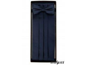 Tmavě modrý frakový pás + motýlek + kapesníček