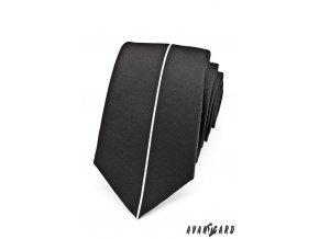 Černá luxusní SLIM kravata s tenkým bílým proužkem _
