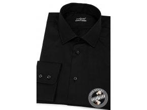 Černá pánská slim fit košile, dl.rukáv, 109-23