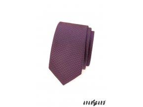 Fialová slim kravata s jemným vzorkem