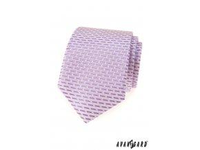 Lila kravata s cihlovým vzorem