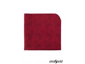 Červený kapesníček se zaobleným vzorem