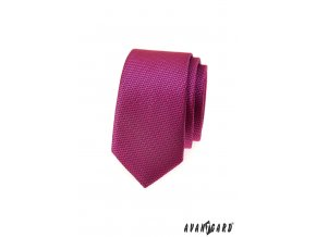 Fuchsiová slim kravata se vzorem