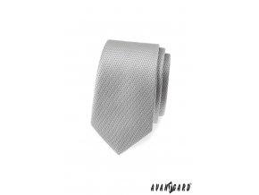 Světle šedá slim vzorovaná kravata