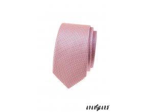 Světle růžová slim kravata s černými tečkami