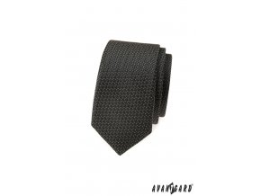 Tmavě grafitová slim kravata s kostkovaným vzorem