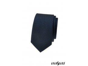 Velmi tmavě modrá slim kravata s kostkovaným vzorem