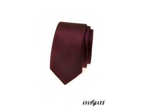 Bordó slim vzorovaná kravata