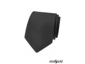 Šedá jemně vroubkovaná kravata
