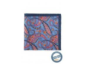 Modrý hedvábný kapesníček s barevným vzorem