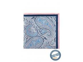 Modrý hedvábný kapesníček s růžovým okrajem